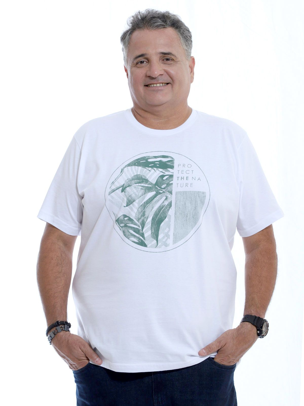 Camiseta Plus Size Masculina Nature Branco