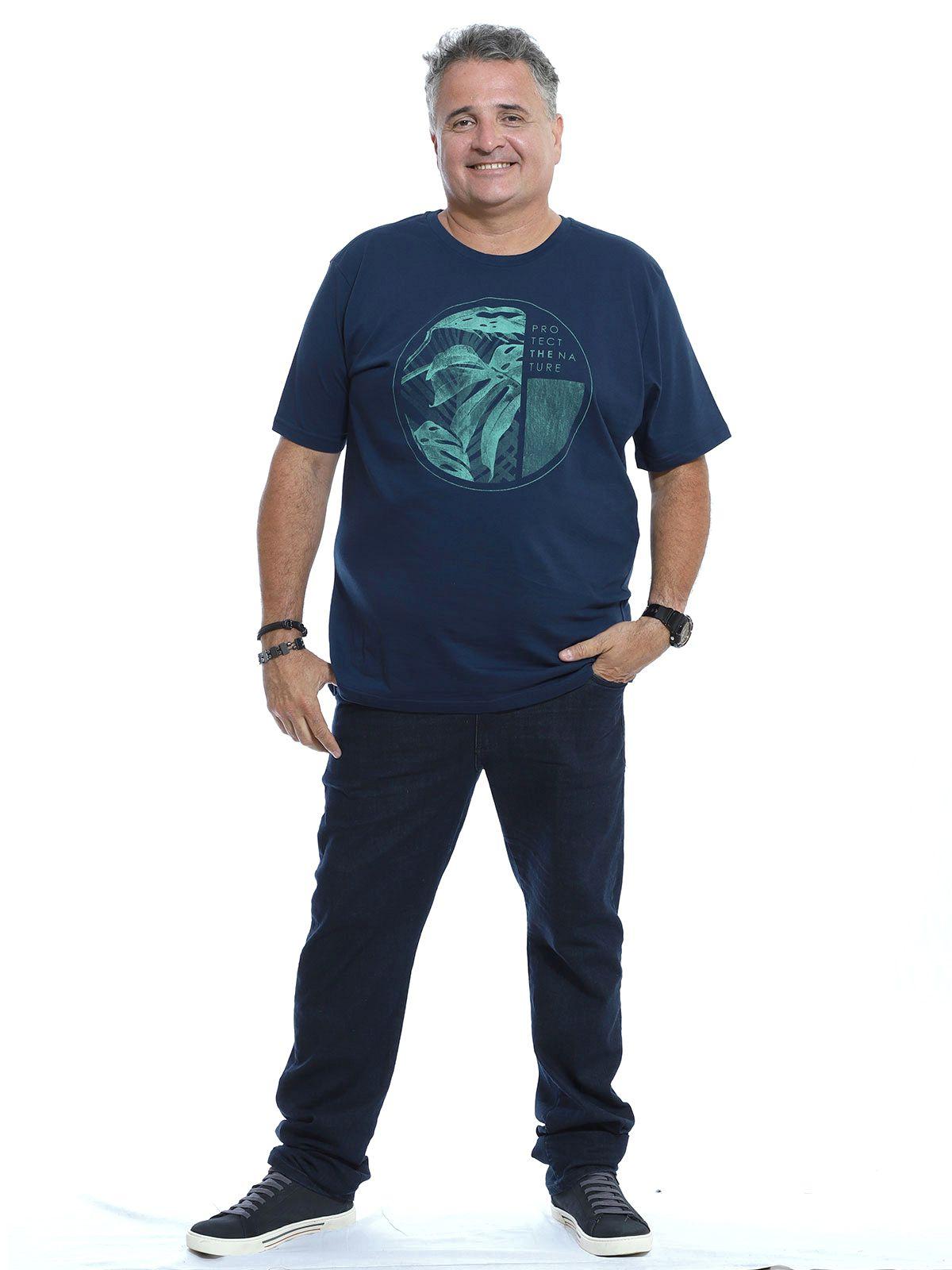 Camiseta Plus Size Masculina Algodão Manga Curta Nature Marinho