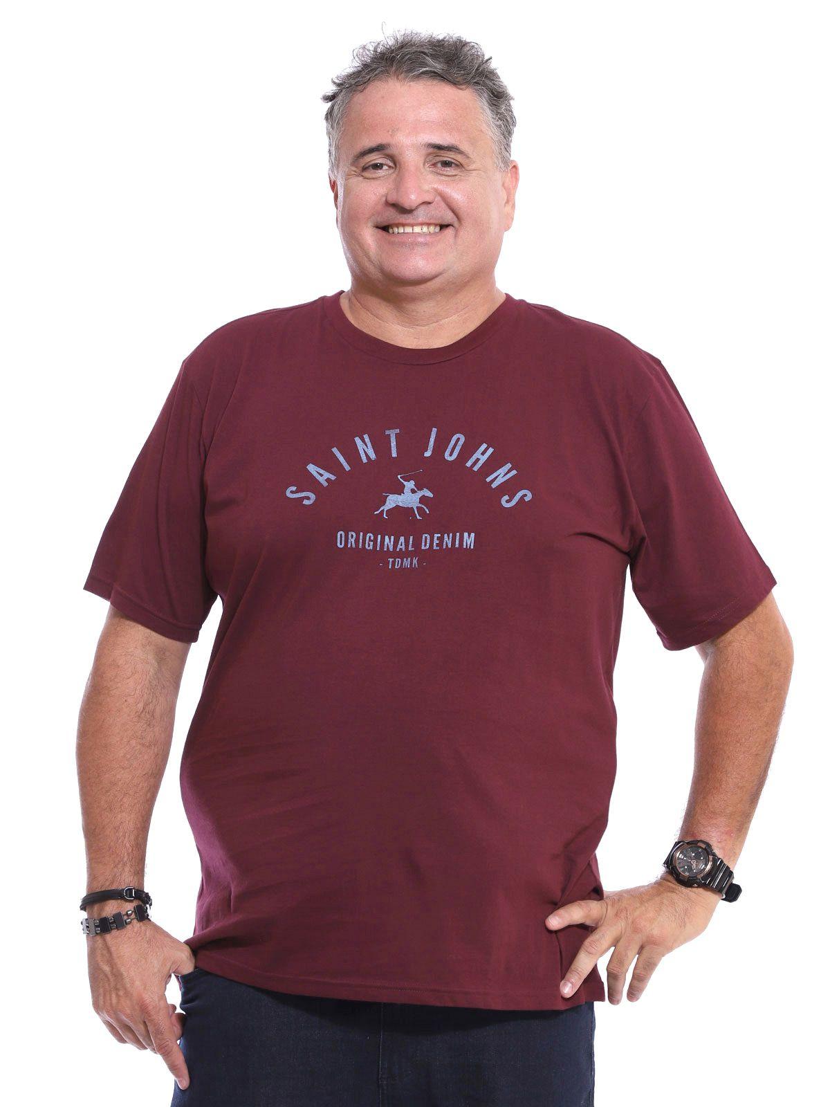Camiseta Plus Size Masculina Algodão Estampa Rock Vinho
