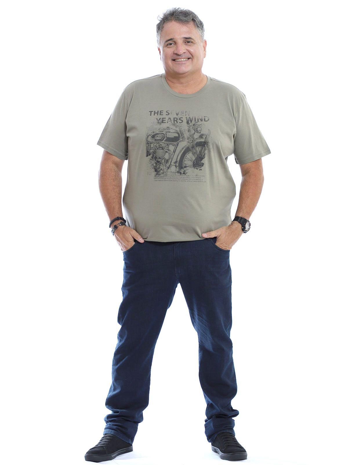 Camiseta Plus Size Masculina Gola Careca Algodão Seven Bambu