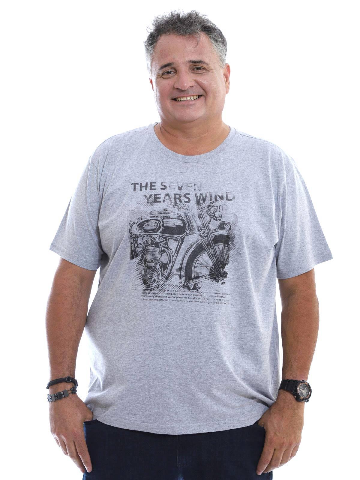Camiseta Plus Size Masculina Gola Careca Algodão Seven Mescla