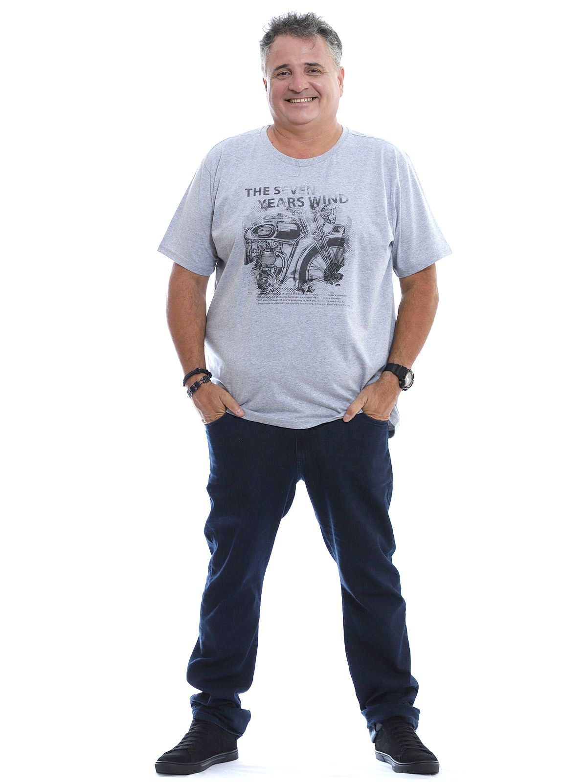 Camiseta Plus Size Masculina Seven Mescla