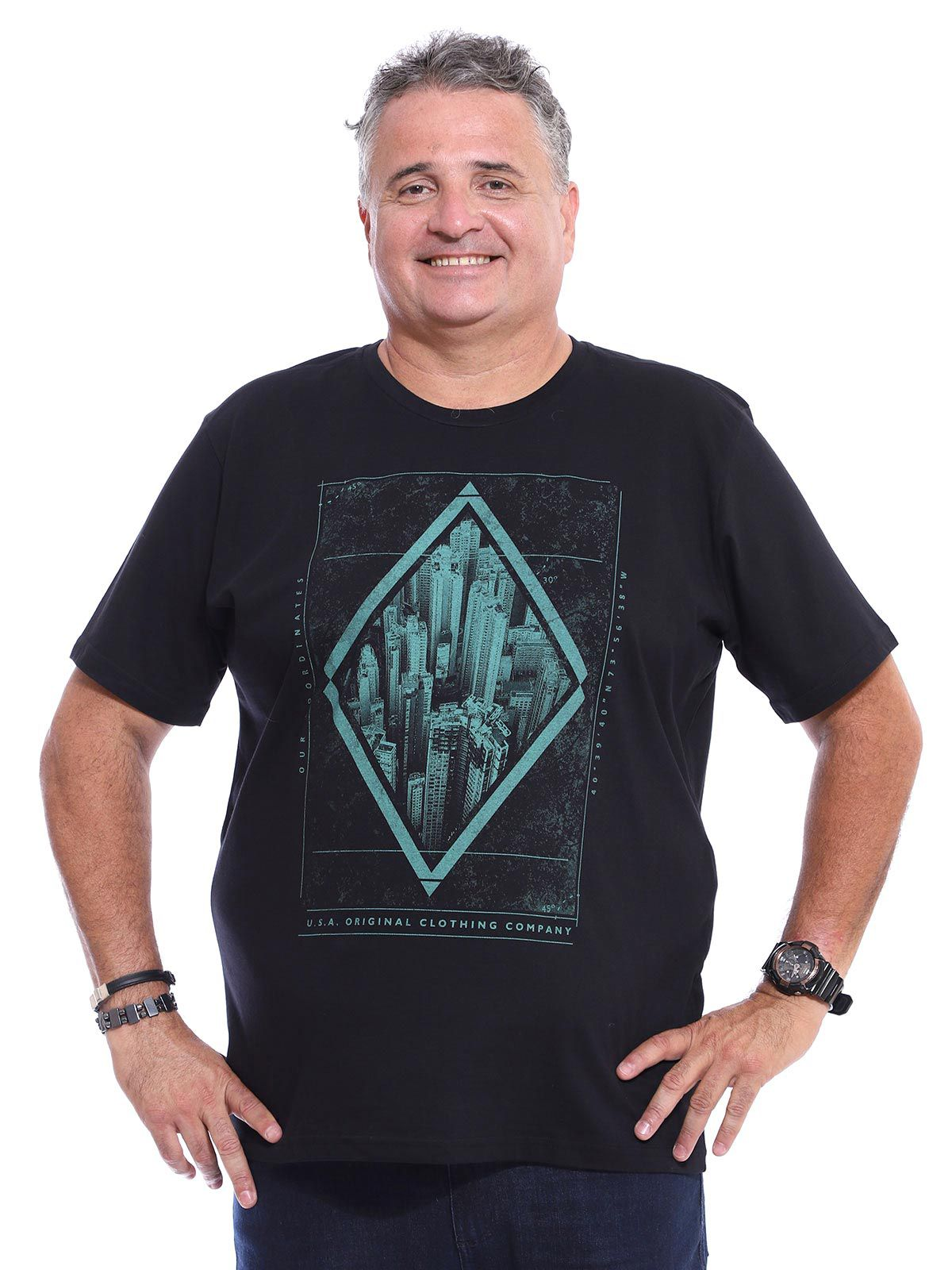 Camiseta Plus Size Masculina Algodão Manga Curta South Preto