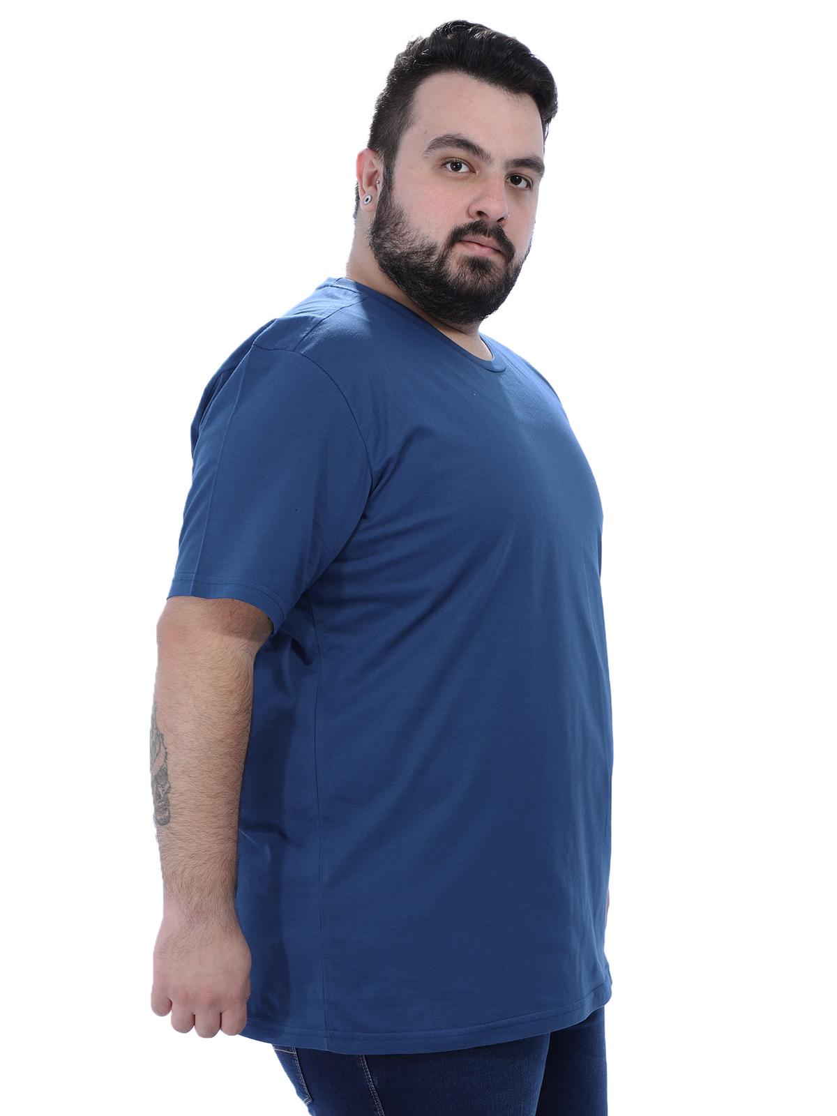 Camiseta Plus Size Lisa Masculino Básica Algodão Azul Jeans