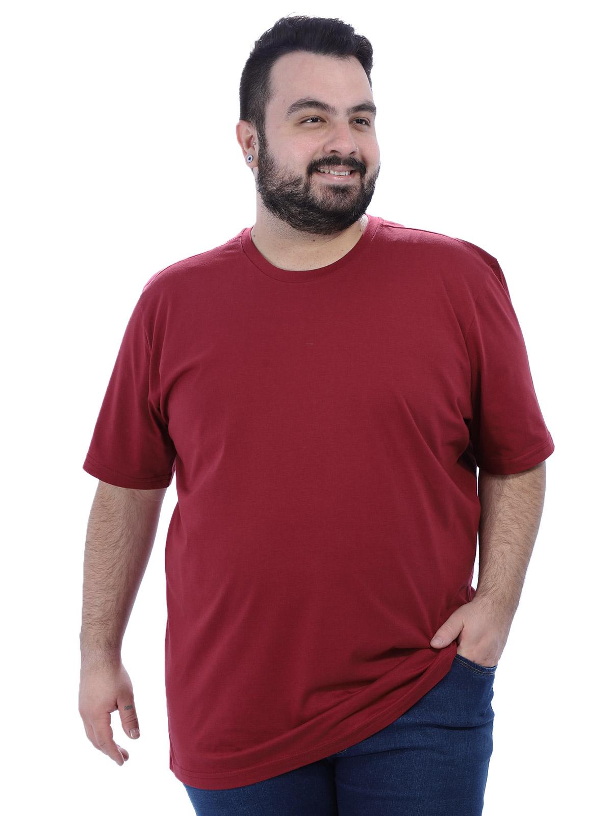 Camiseta Plus Size Lisa Masculino Básica Algodão Bordo