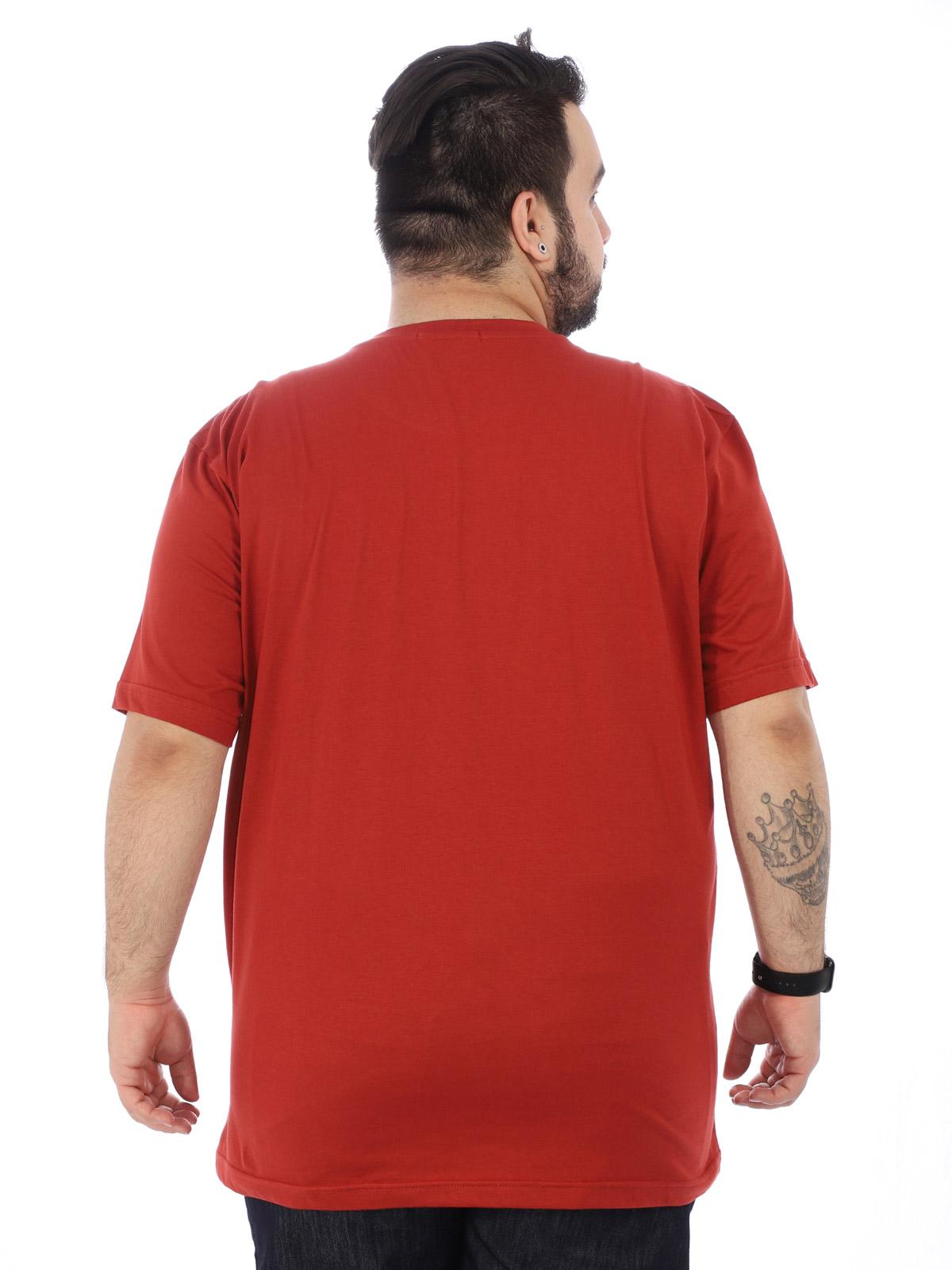 Camiseta Plus Size Lisa Masculino Básica Algodão Ferrugem