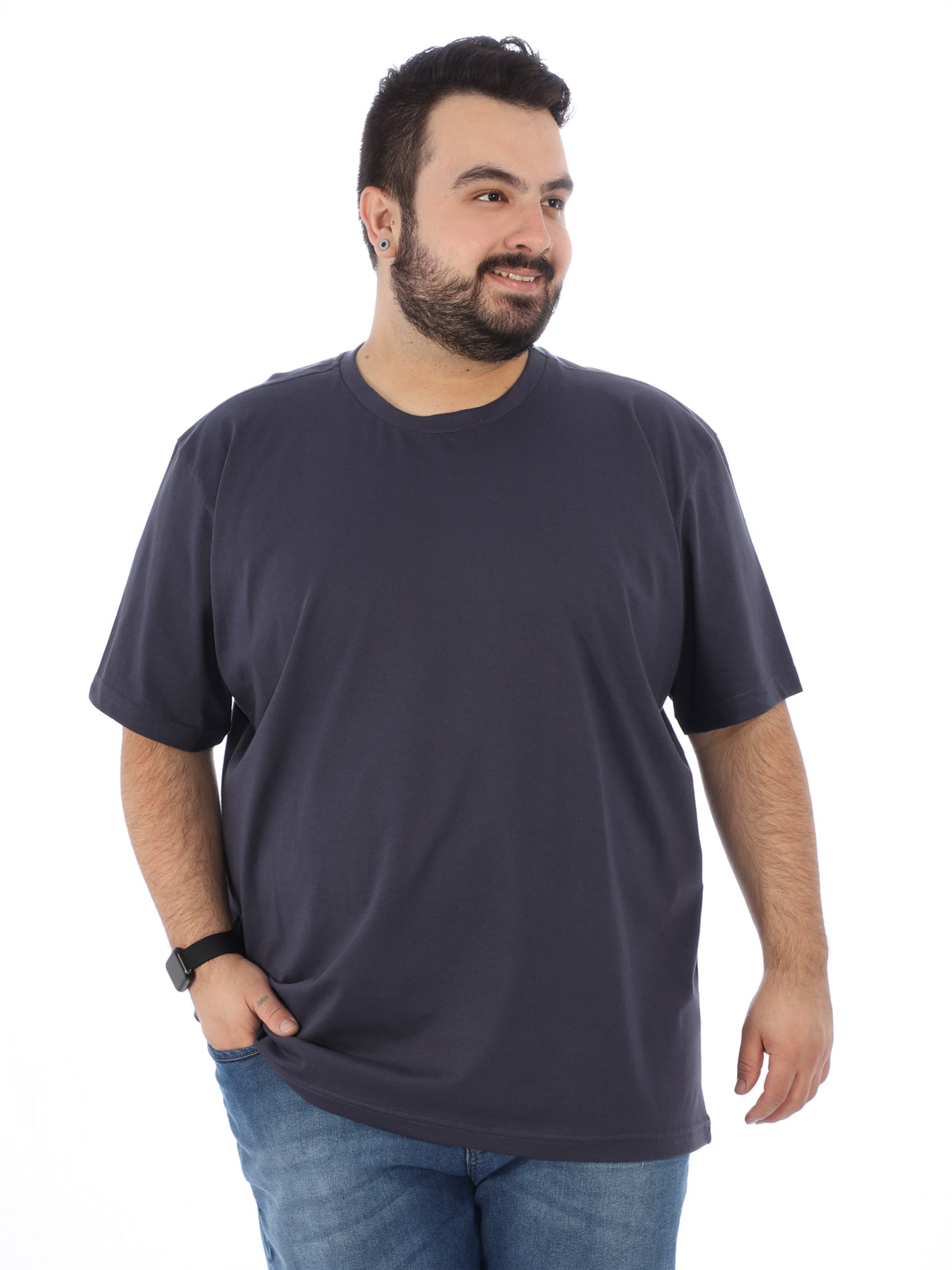 Camiseta Plus Size Lisa Masculino Básica Algodão Grafite