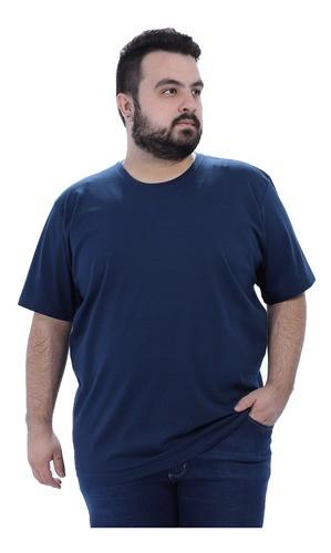 Camiseta Plus Size Lisa Masculino Básica Algodão Marinho
