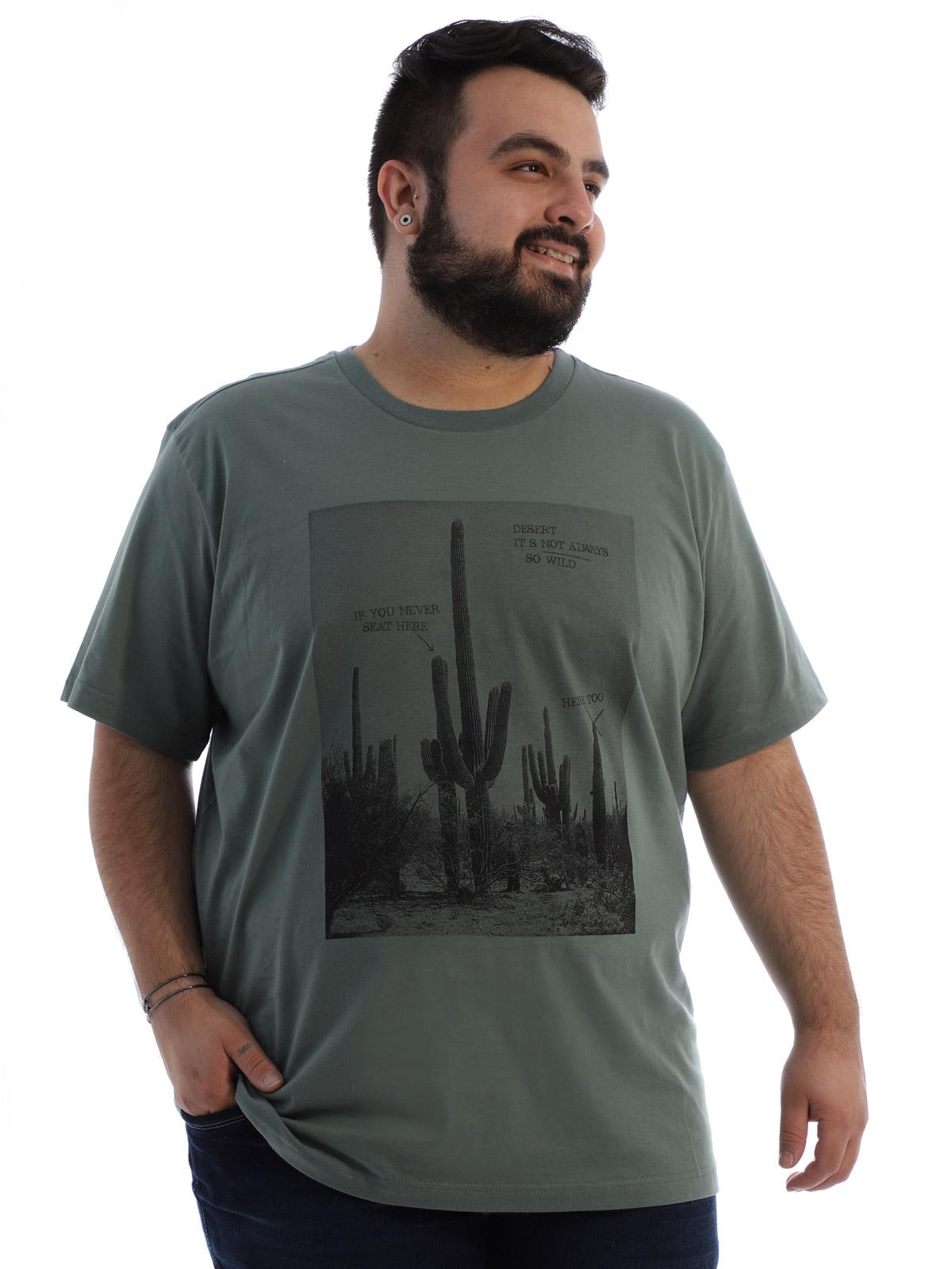 Camiseta Plus Size Masculina Algodão Anistia Caktos Concreto