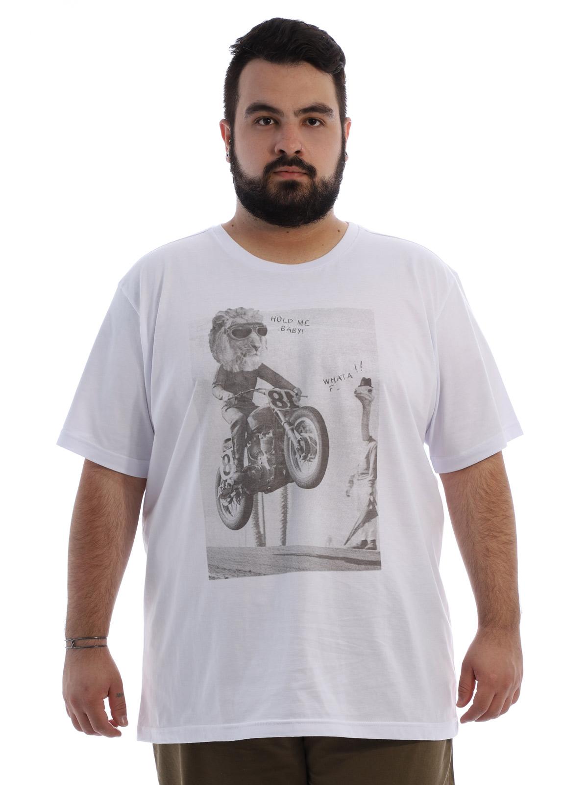 Camiseta Plus Size Masculina Algodão Anistia Leão Branco