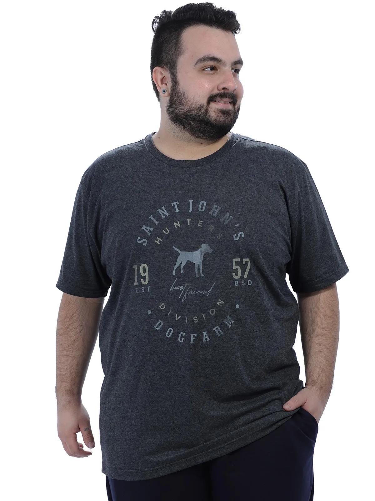 Camiseta Plus Size Masculina Algodão Gola Careca Preta
