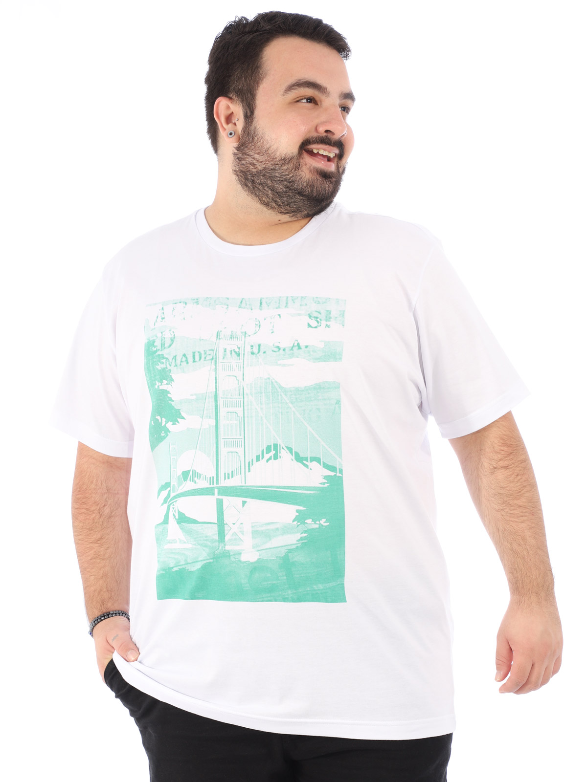Camiseta Plus Size Masculina Algodão Manga Curta Ponte Branco