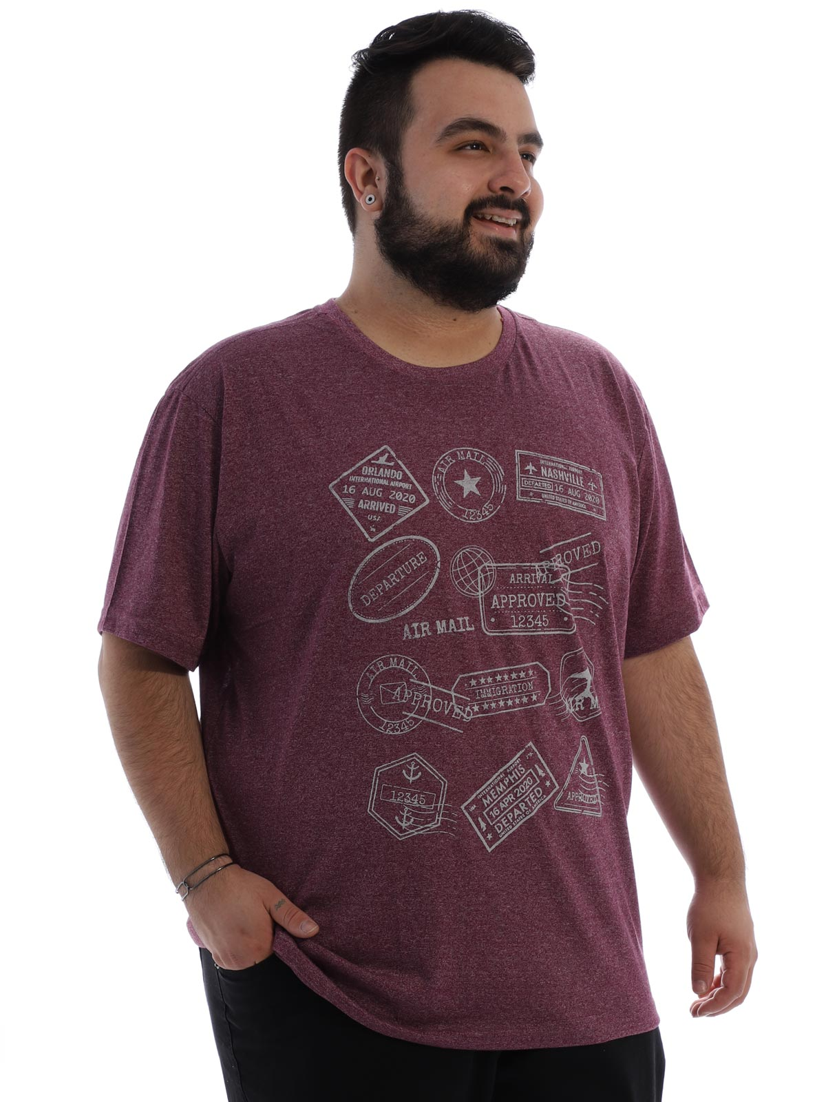 Camiseta Plus Size Masculina Algodão Mouline Nature Bordo