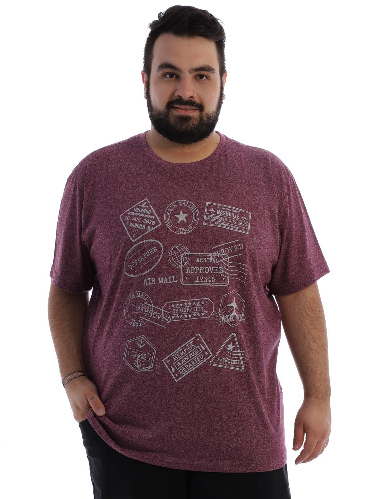 Camiseta Plus Size Masculina Algodão Mouline Nature Bordo