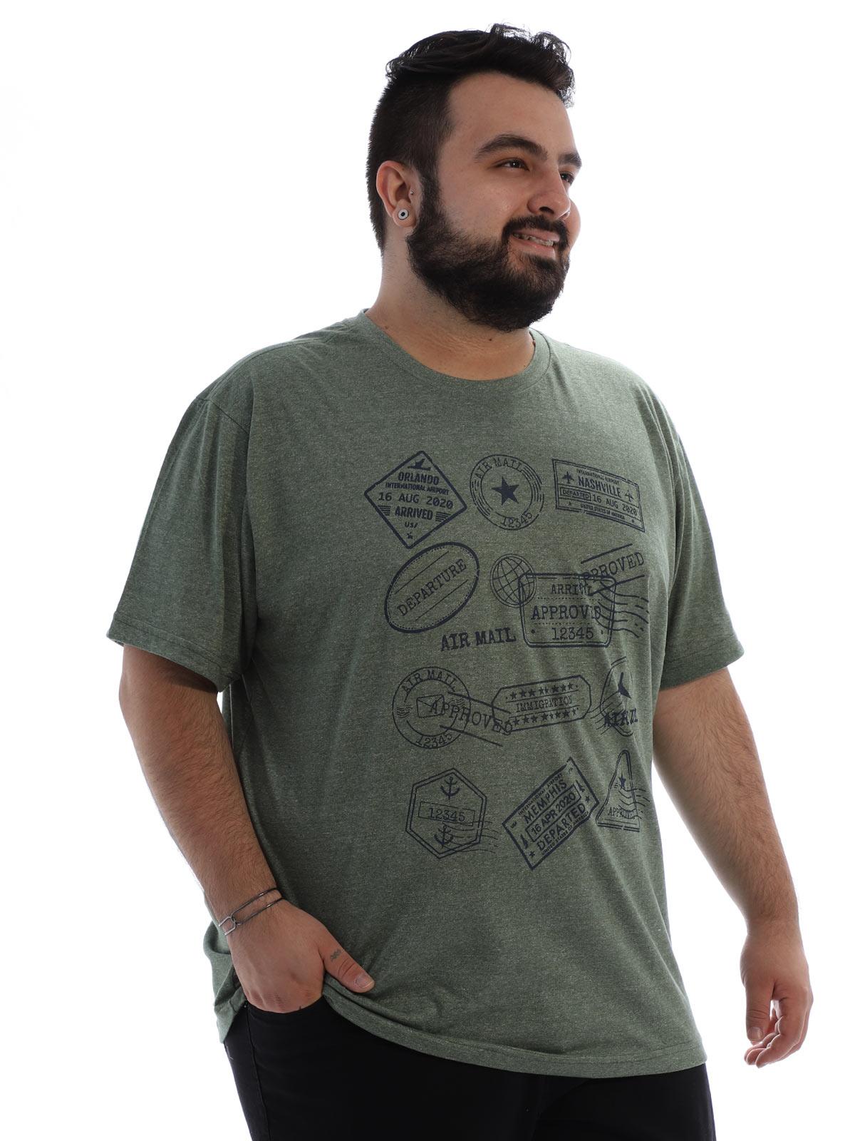 Camiseta Plus Size Masculina Algodão Mouline Nature Militar