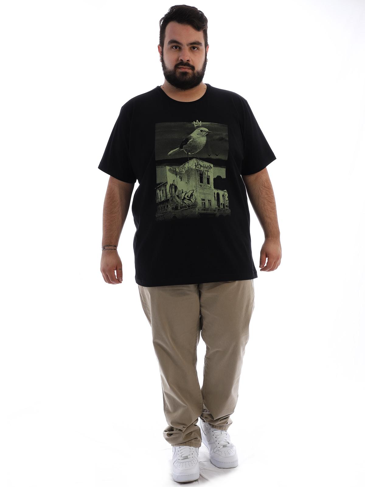 Camiseta Plus Size Masculina Algodão Passarinho Preto