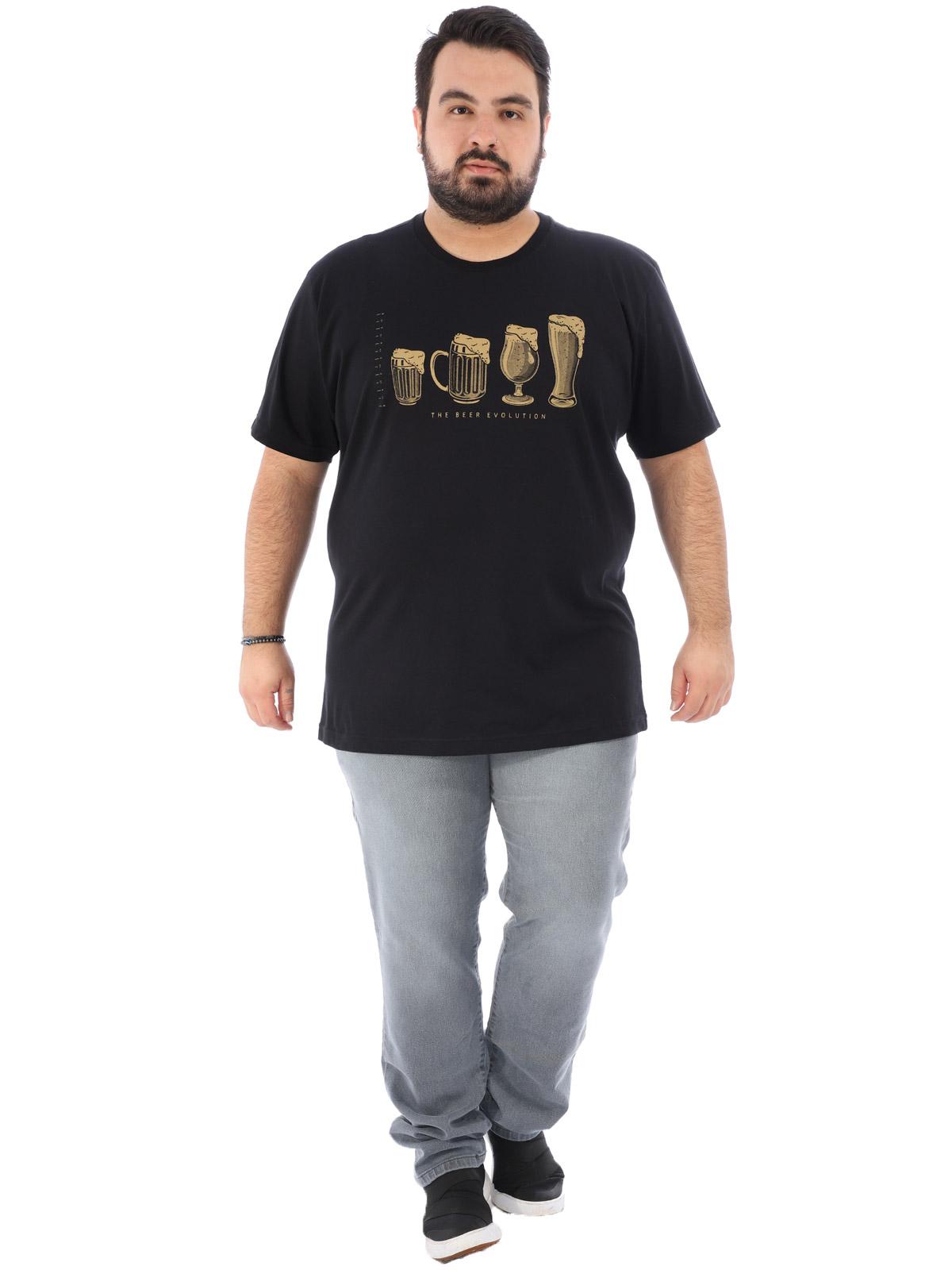 Camiseta Plus Size Masculina Estampada Bear Anistia Preta