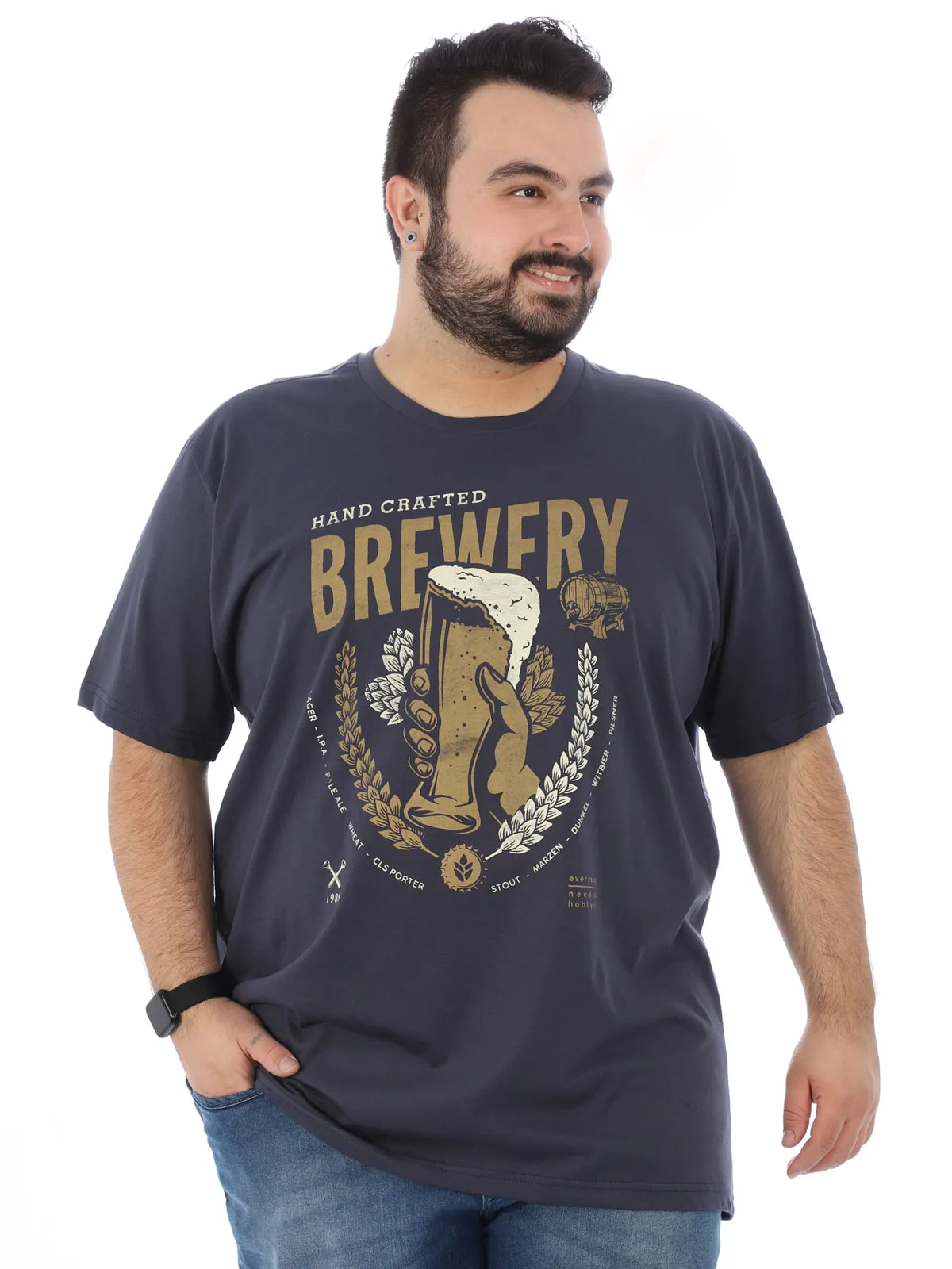 Camiseta Plus Size Masculina Estampada Cerveja Grafite
