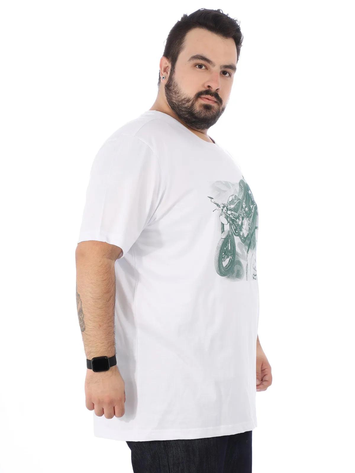 Camiseta Plus Size Masculina Estampada Manga Curta Branca