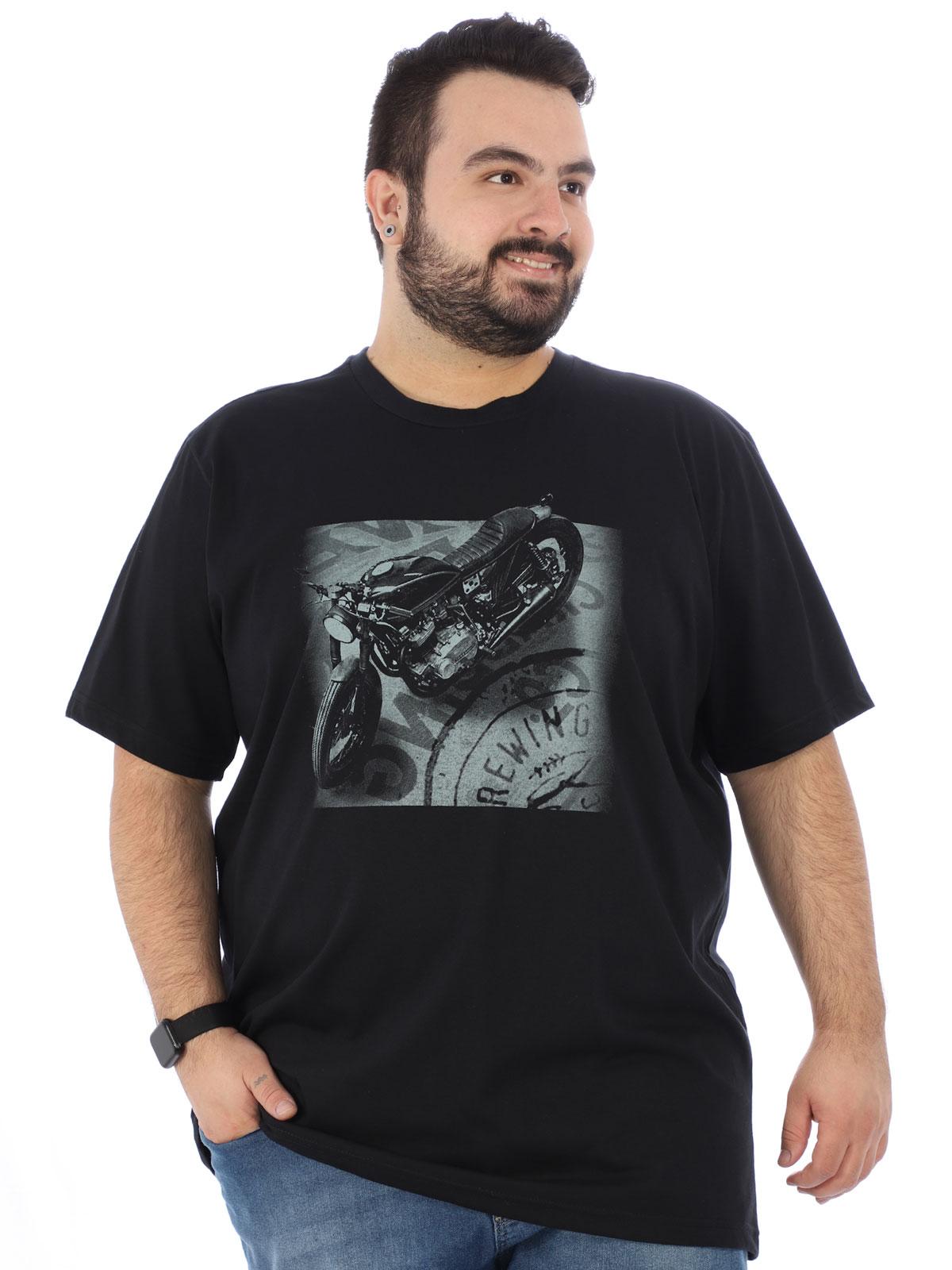 Camiseta Plus Size Masculina Estampada Manga Curta Preta