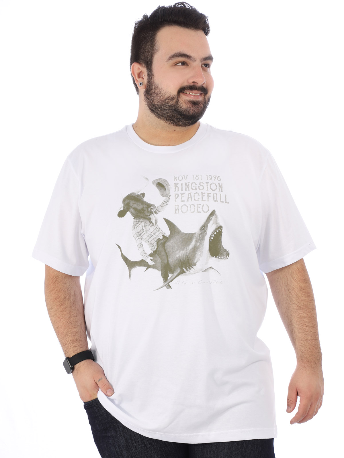 Camiseta Plus Size Masculina Estampada Rodeo Anistia Branca