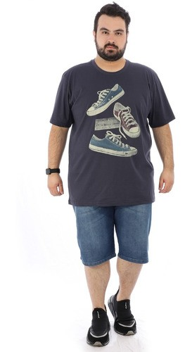 Camiseta Plus Size Masculina Estampada Tennis Grafite