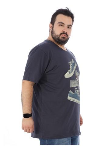 Camiseta Plus Size Masculina Estampada Tennis Grafite