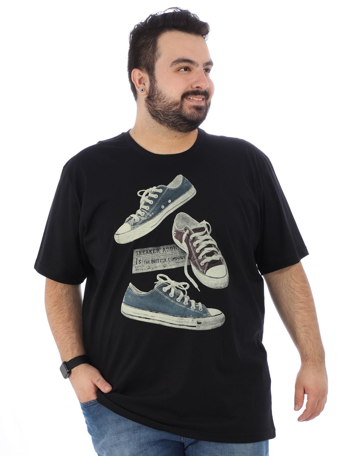 Camiseta Plus Size Masculina Estampada Tennis Preta