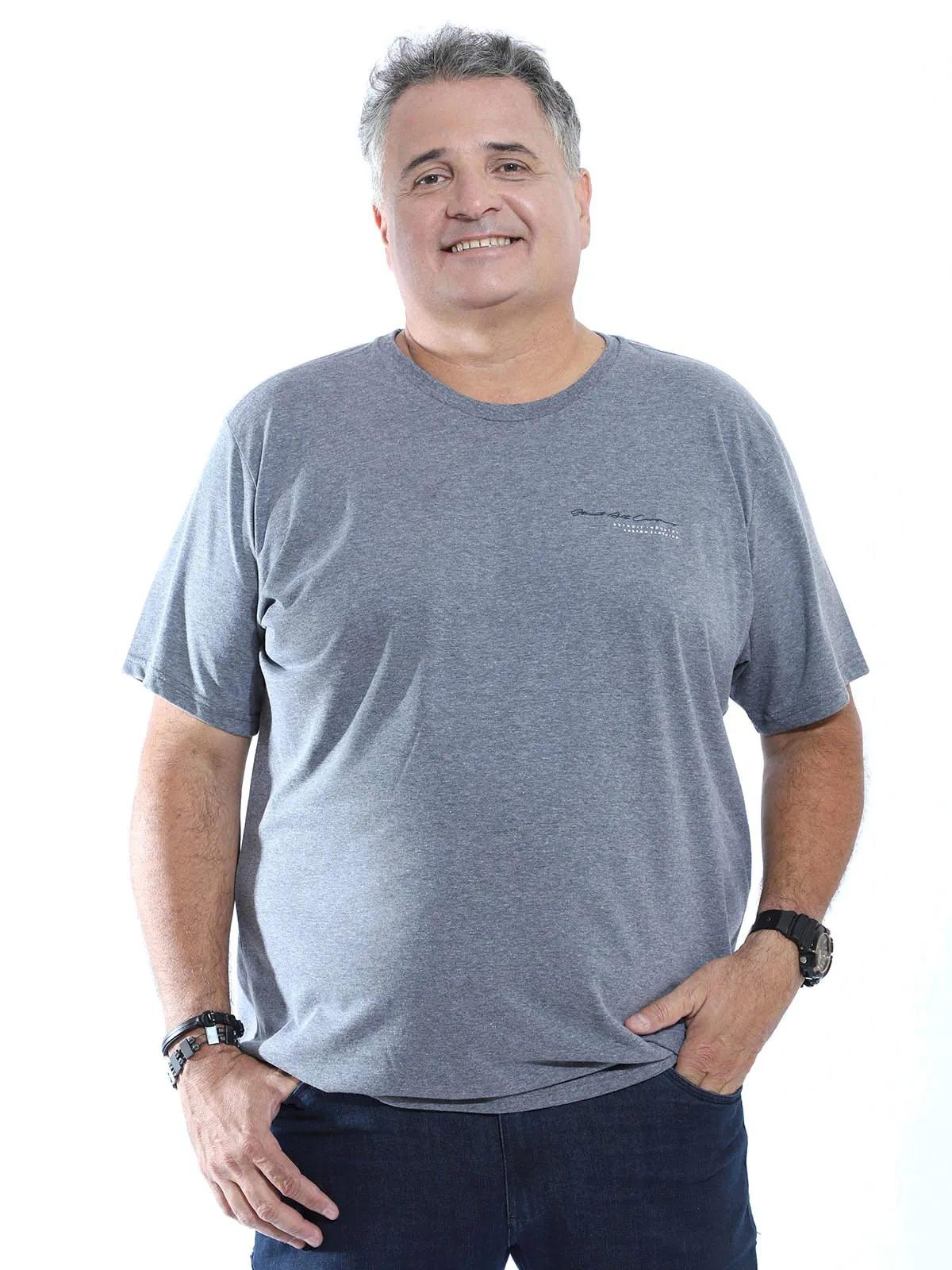 Camiseta Plus Size Masculina Manga Curta Algodão Estampada Mescla Escuro