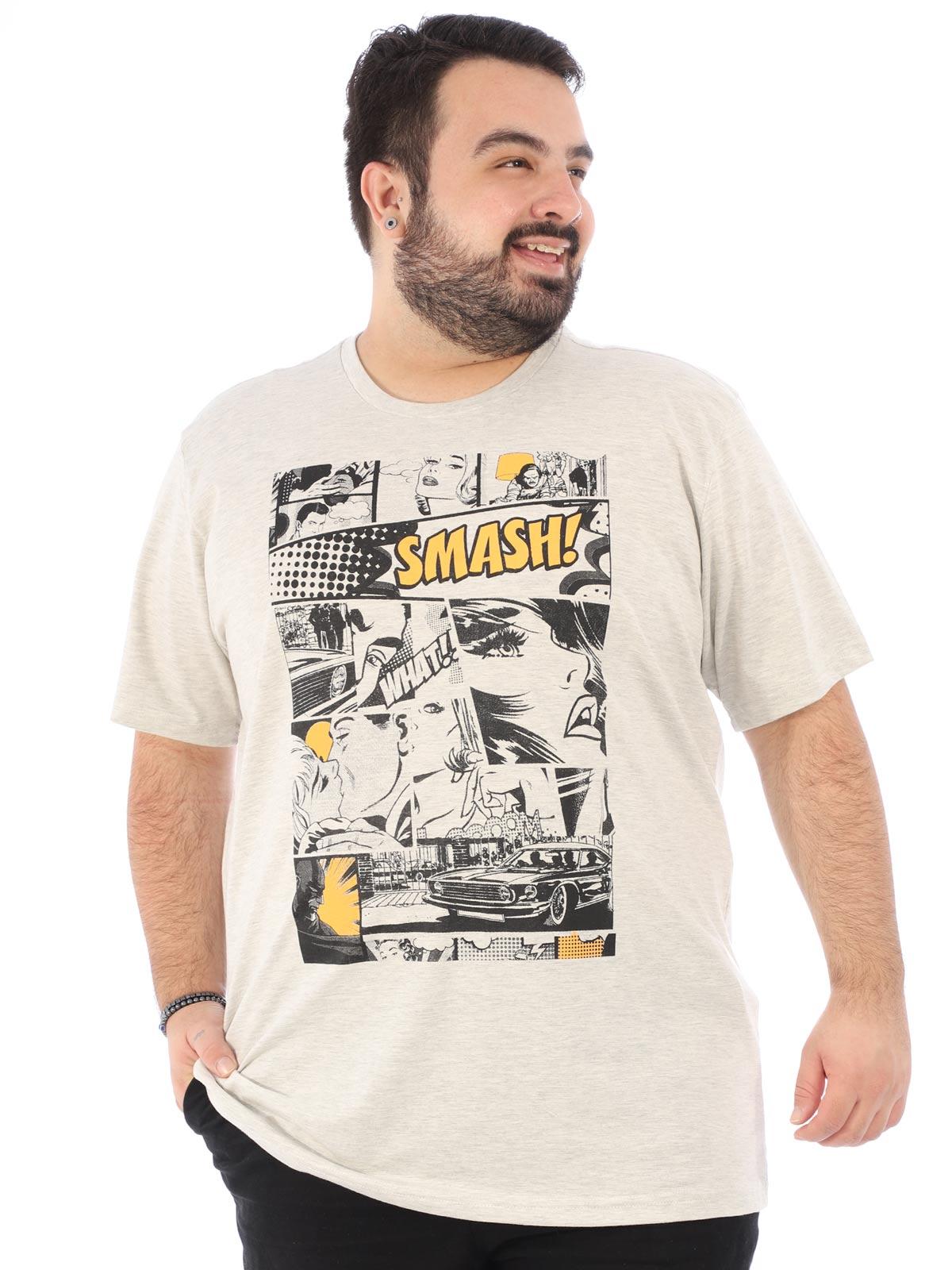 Camiseta Plus Size Masculina Manga Curta Cartoon Mescla Crú