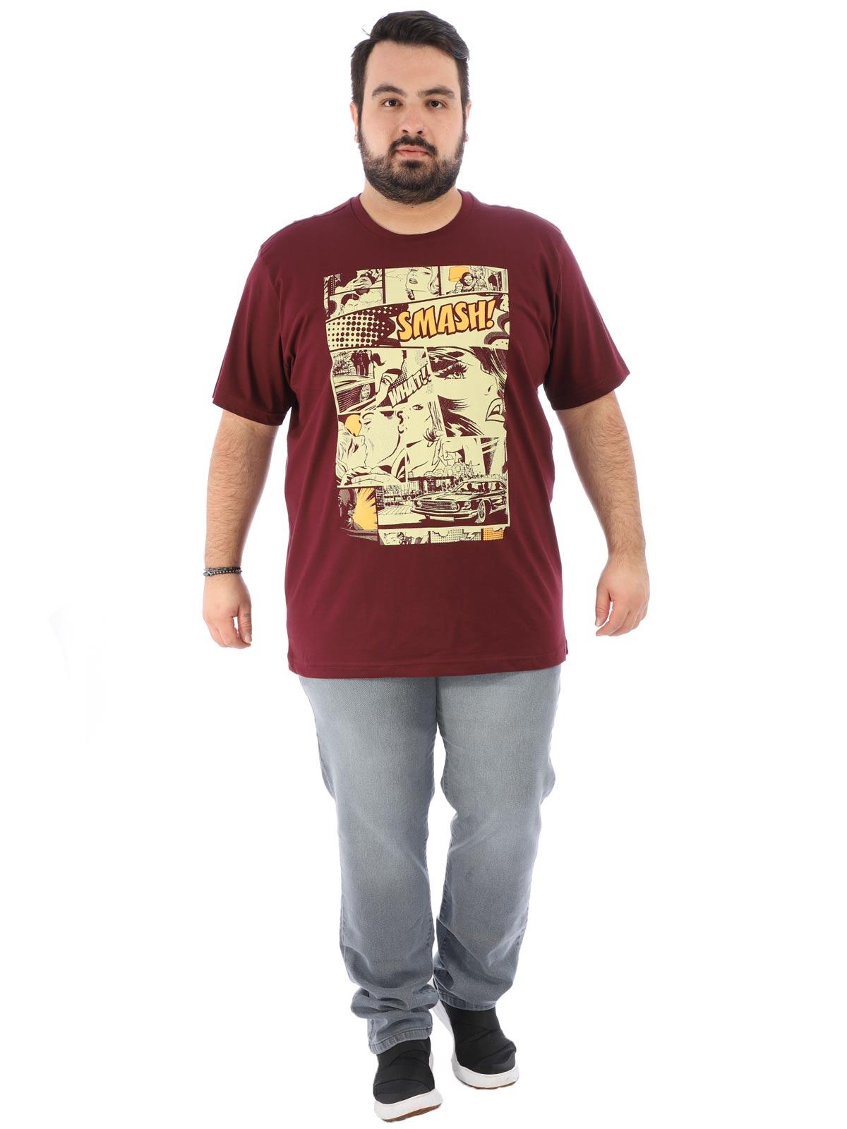Camiseta Plus Size Masculina Manga Curta Cartoon Vinho