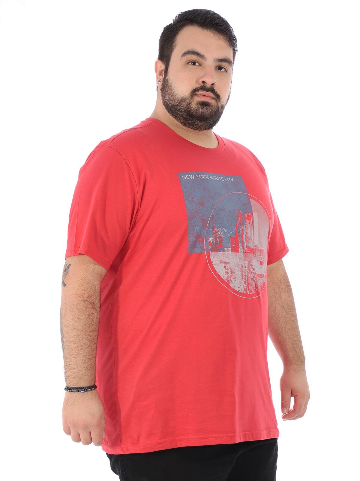 Camiseta Plus Size Masculina Manga Curta City Vermelho