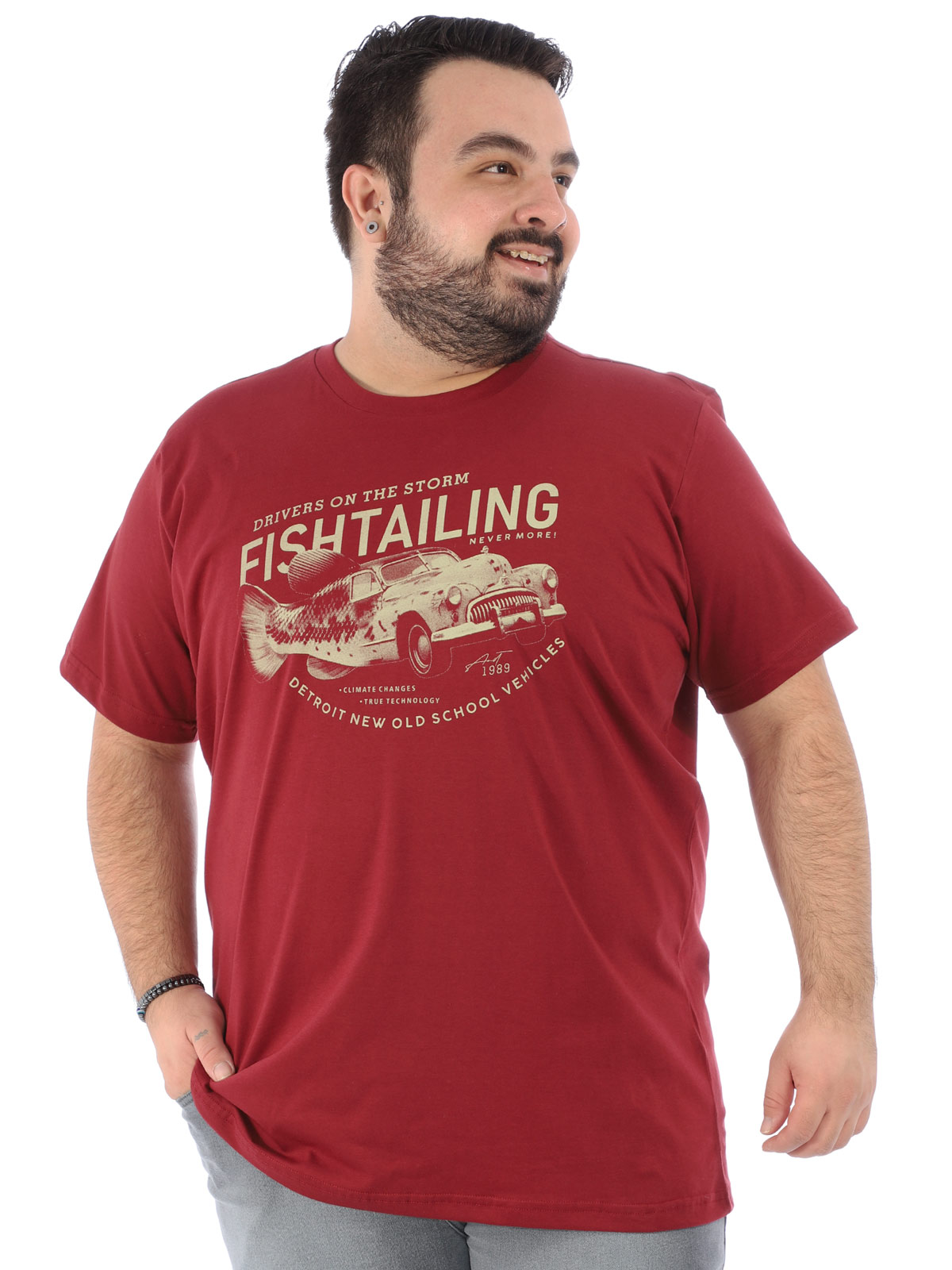 Camiseta Plus Size Masculina Manga Curta Fishcar Bordo