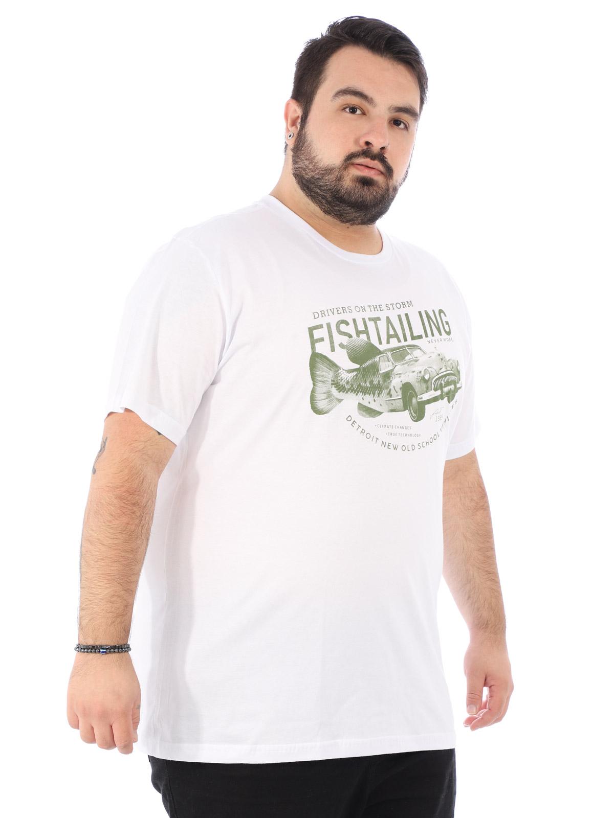 Camiseta Plus Size Masculina Manga Curta Fishcar Branca