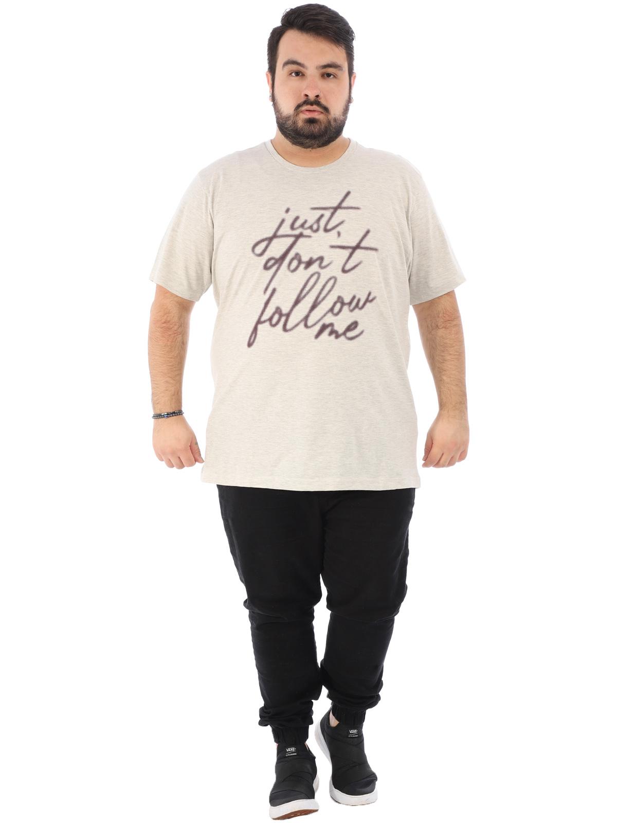 Camiseta Plus Size Masculina Manga Curta Follow Mescla Crú