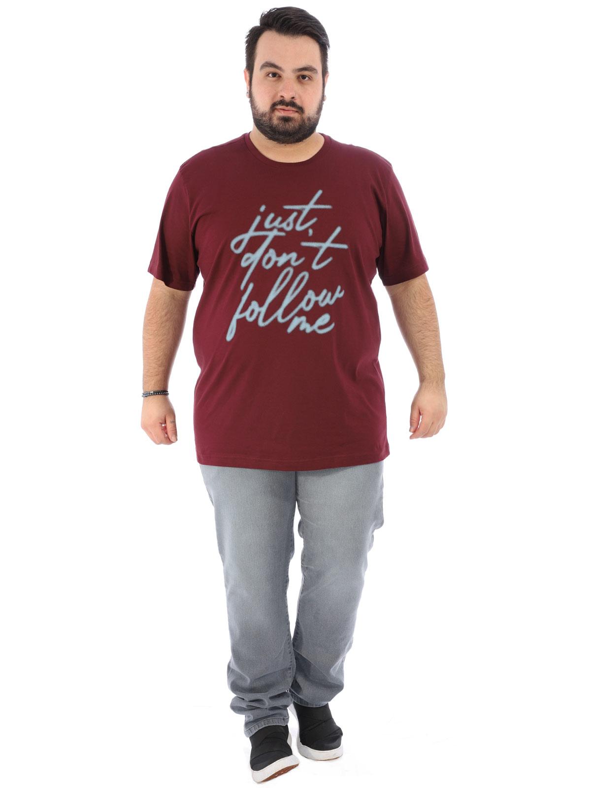 Camiseta Plus Size Masculina Manga Curta Follow Vinho