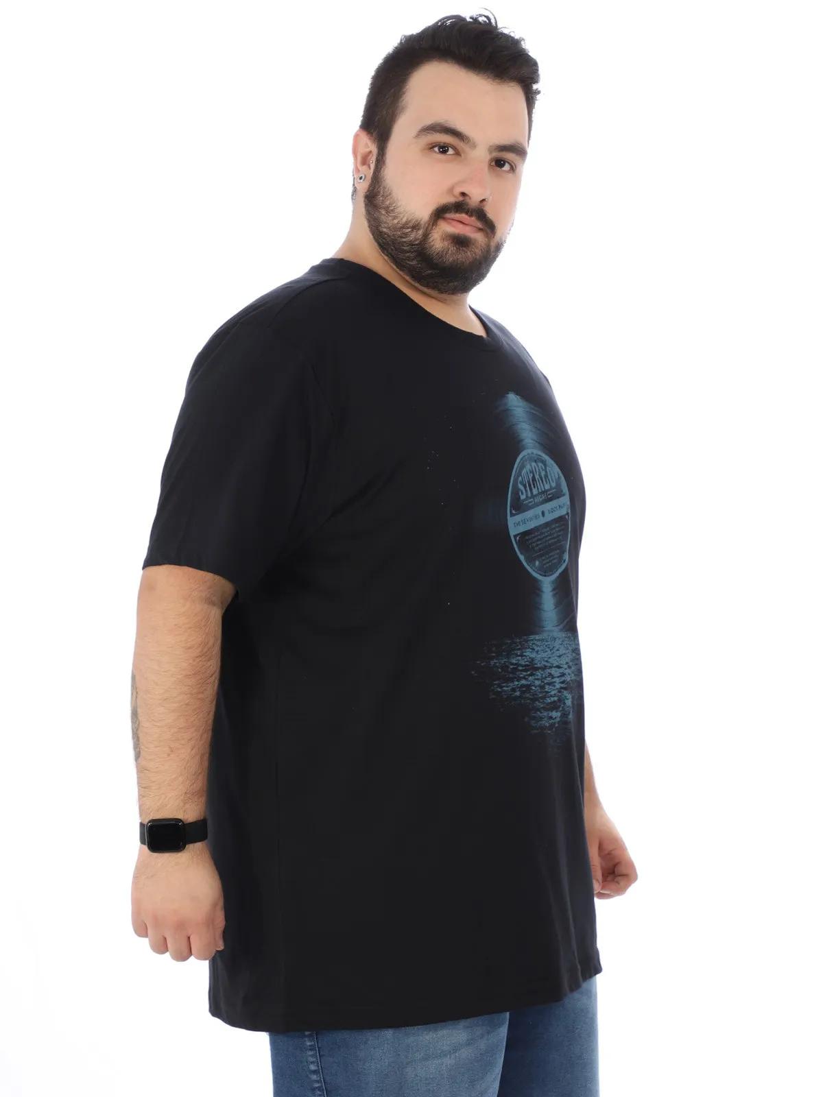 Camiseta Plus Size Masculina Manga Curta Gola Redonda Preta
