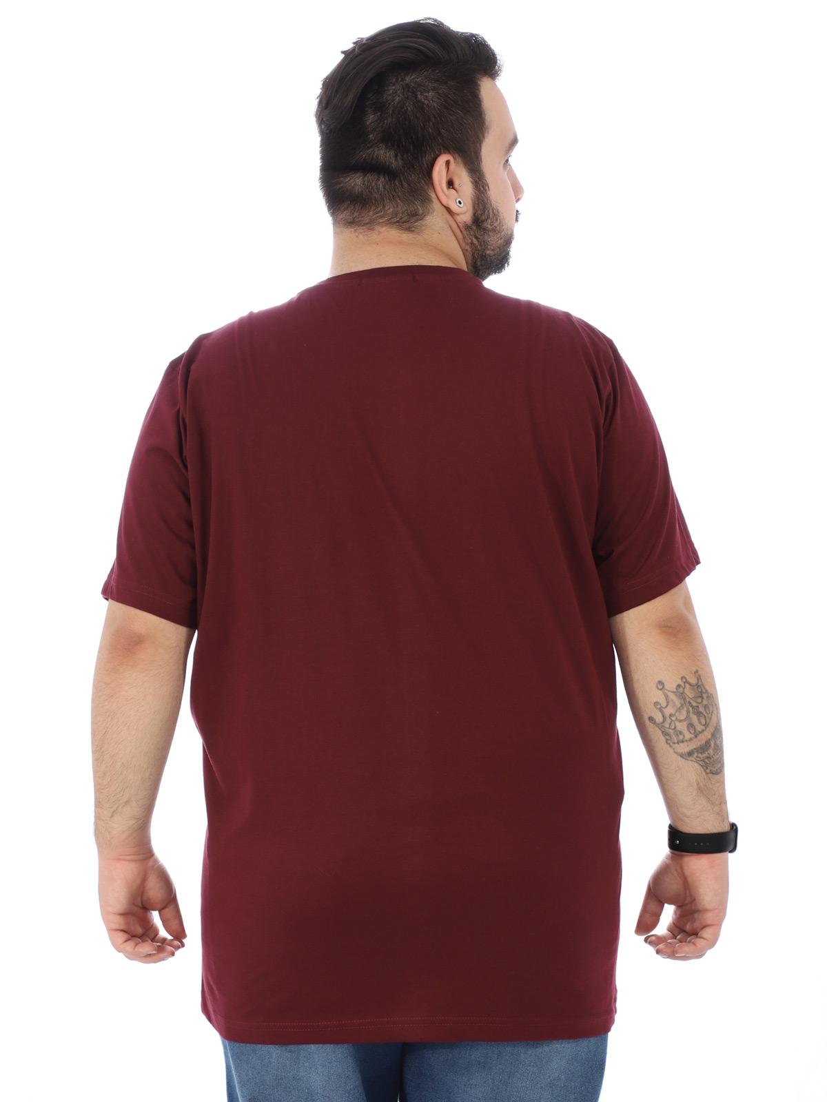 Camiseta Plus Size Masculina Manga Curta Gola Redonda Vinho