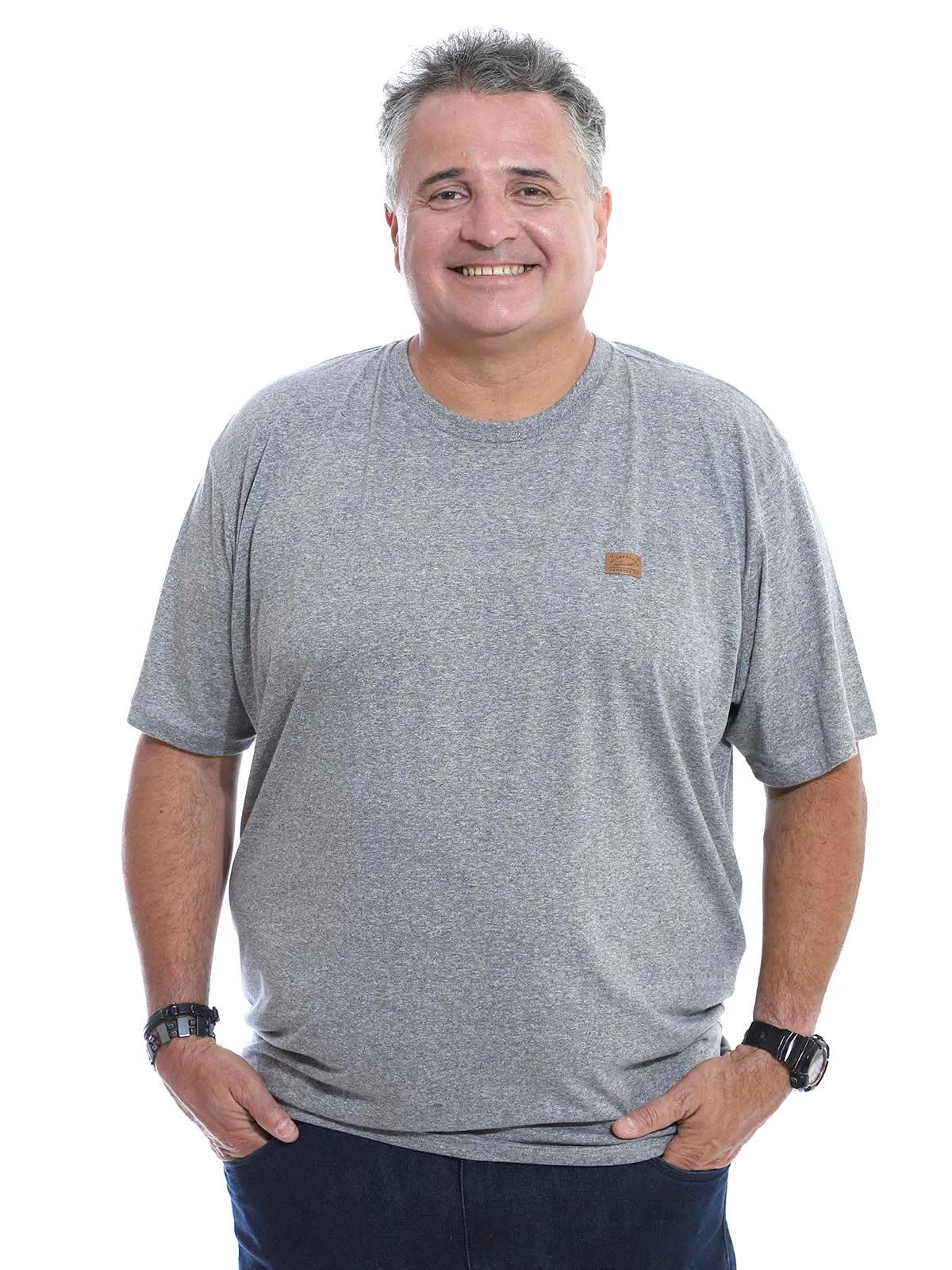 Camiseta Plus Size Masculina Manga Curta Mouline Mescla Claro