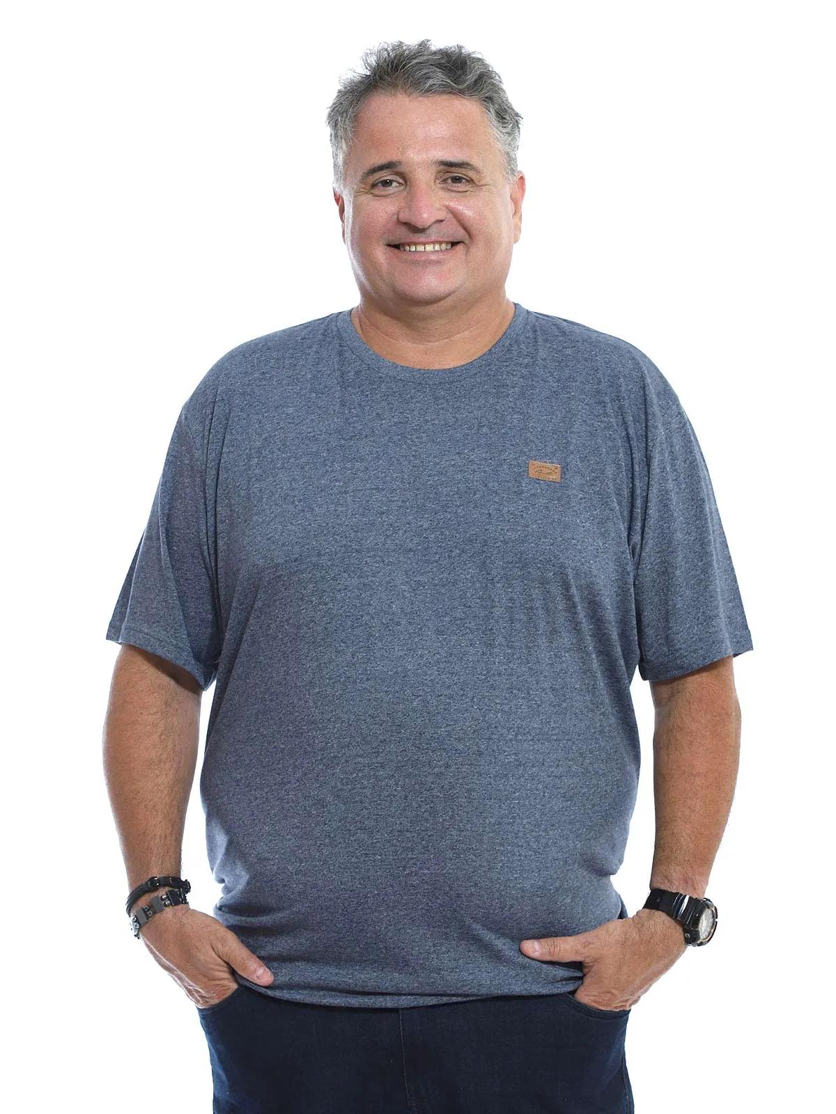 Camiseta Plus Size Masculina Manga Curta Mouline Mescla Marinho