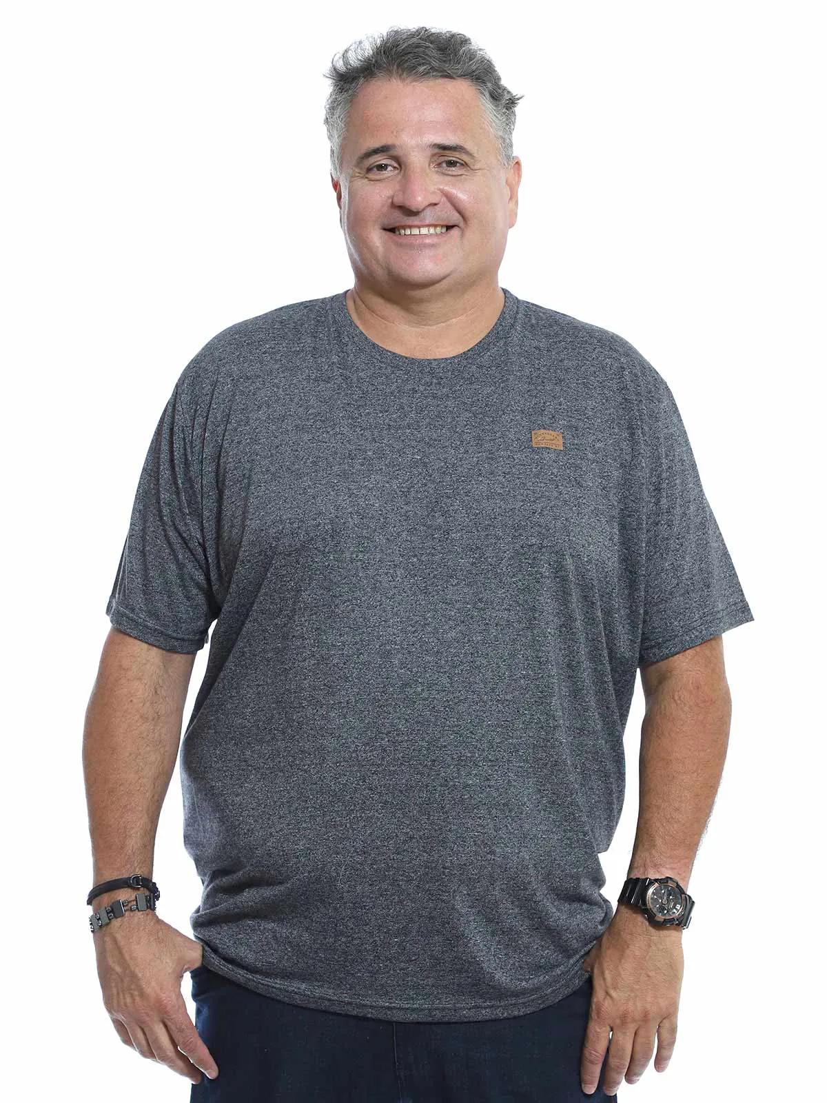 Camiseta Plus Size Masculina Manga Curta Mouline Mescla Preto