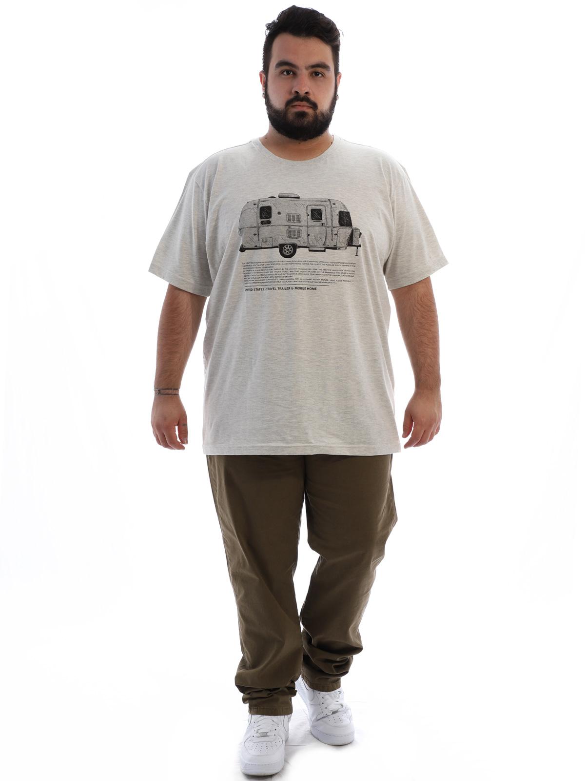 Camiseta Plus Size Masculina Manga Curta Trailer Mescla Cru
