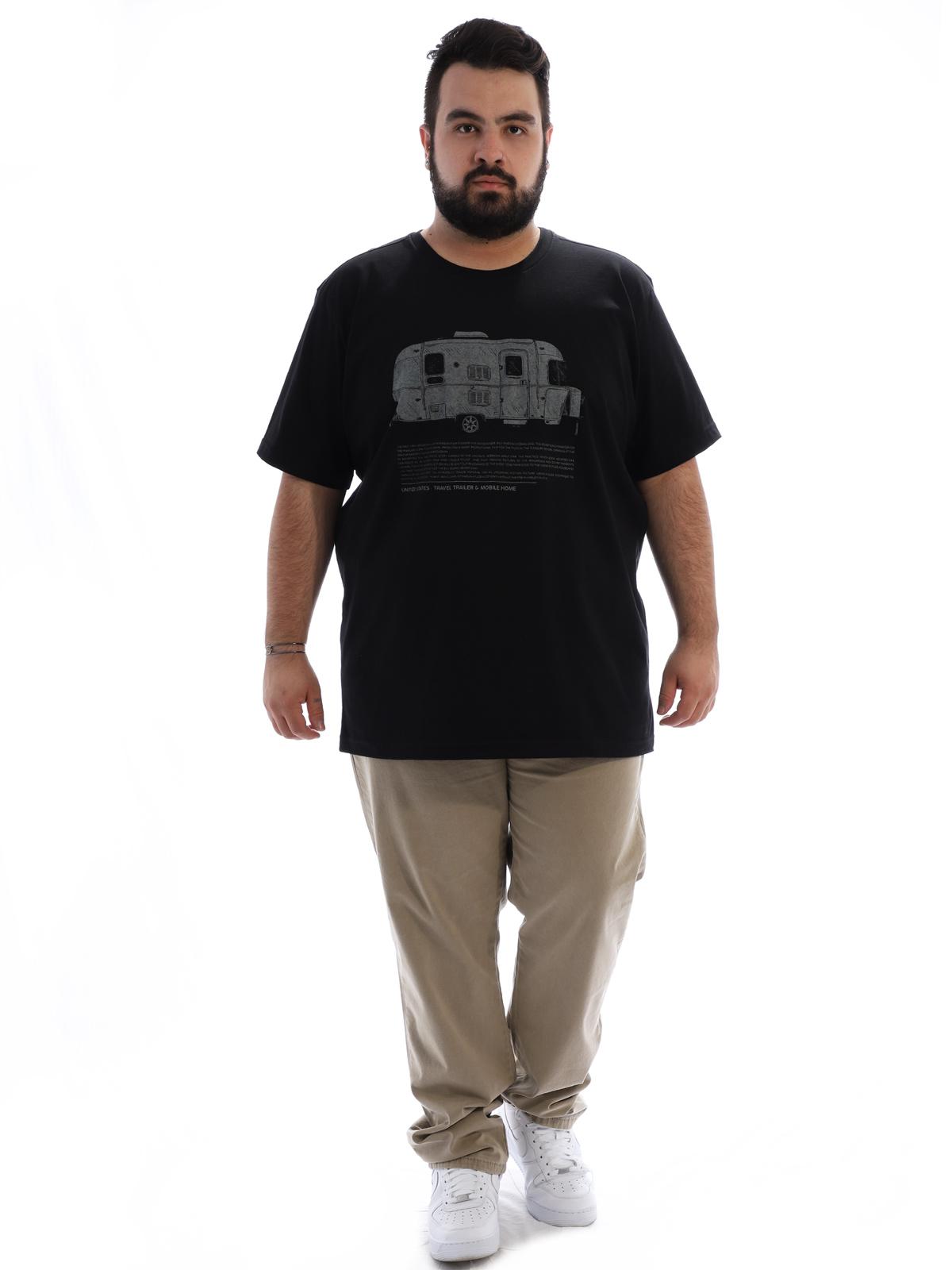 Camiseta Plus Size Masculina Manga Curta Trailer Preto