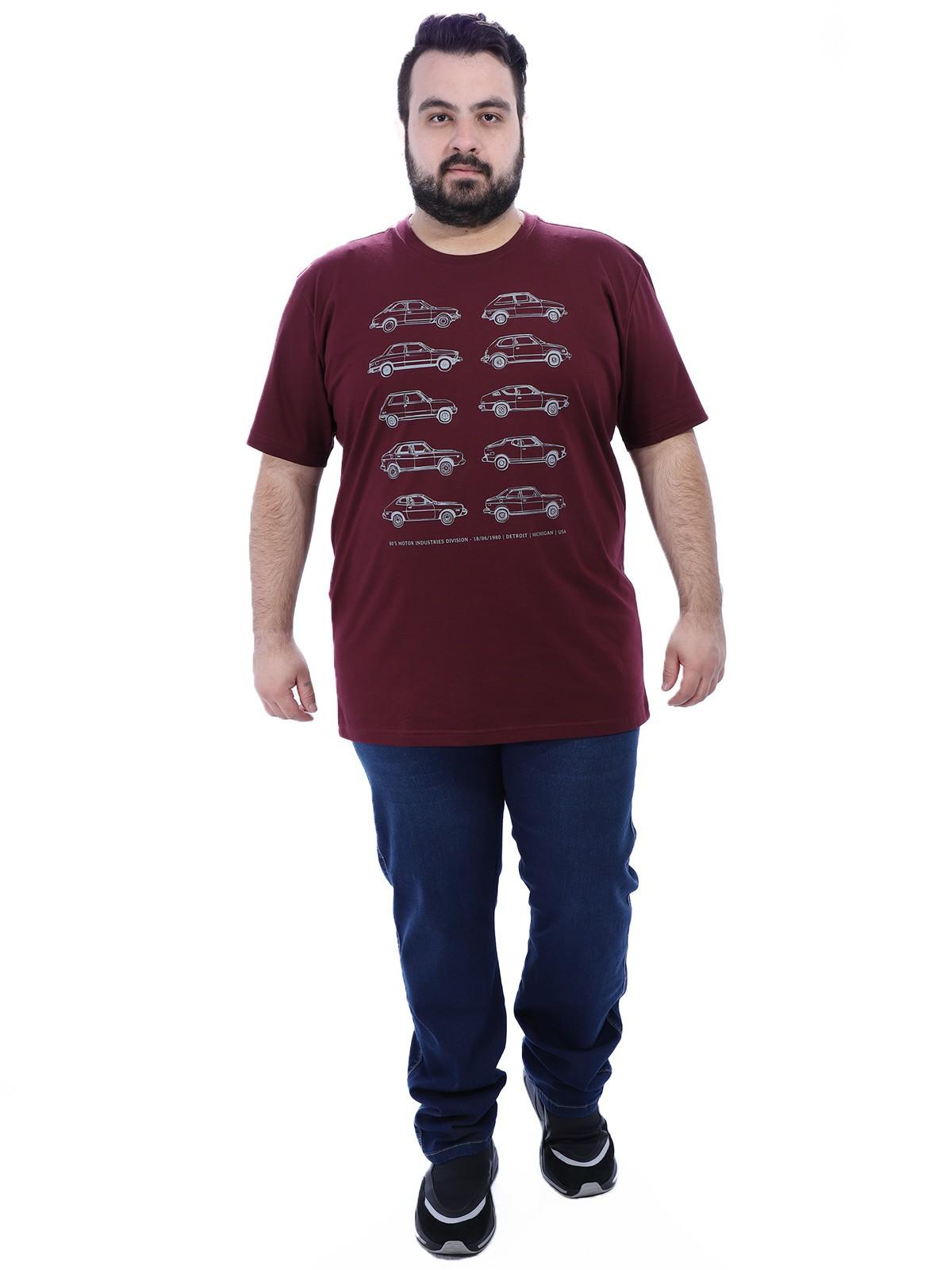 Camiseta Plus Size Masculino Carros Anistia Vinho