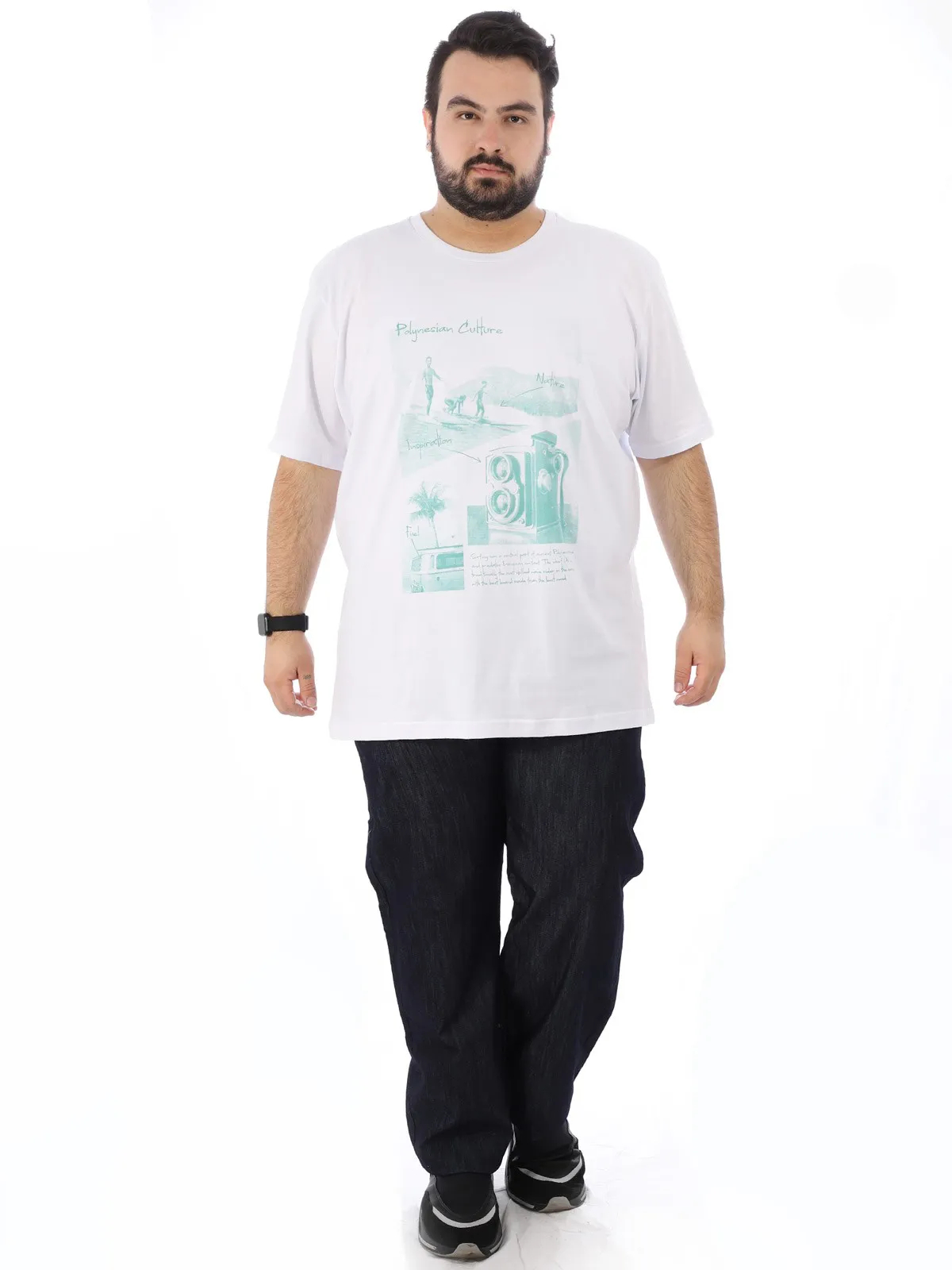Camiseta Plus Size Masculino Estampa Gola Careca Branco