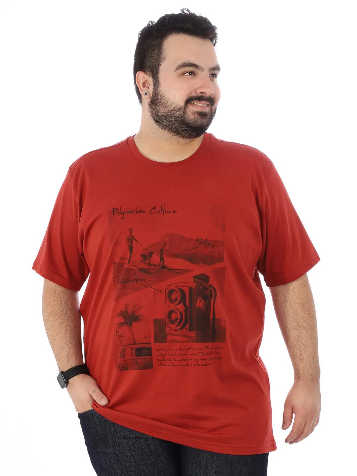 Camiseta Plus Size Masculino Estampa Gola Careca Ferrugem