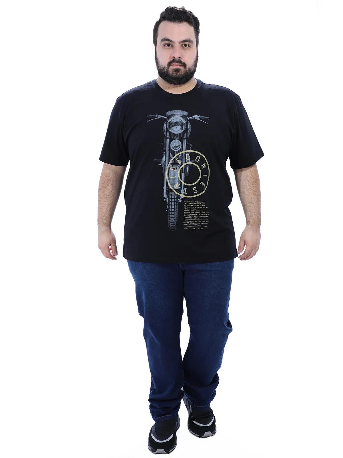 Camiseta Plus Size Masculino Gola Careca Estampa Moto Preta