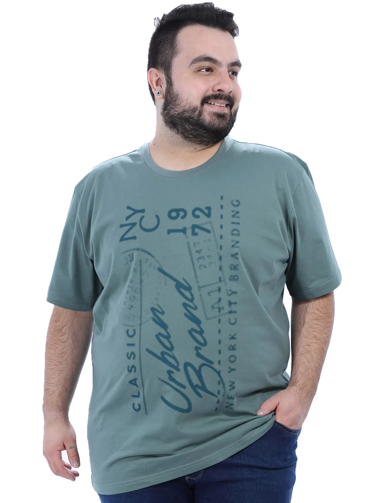 Camiseta Plus Size Masculino Gola Careca Estampada Concreto