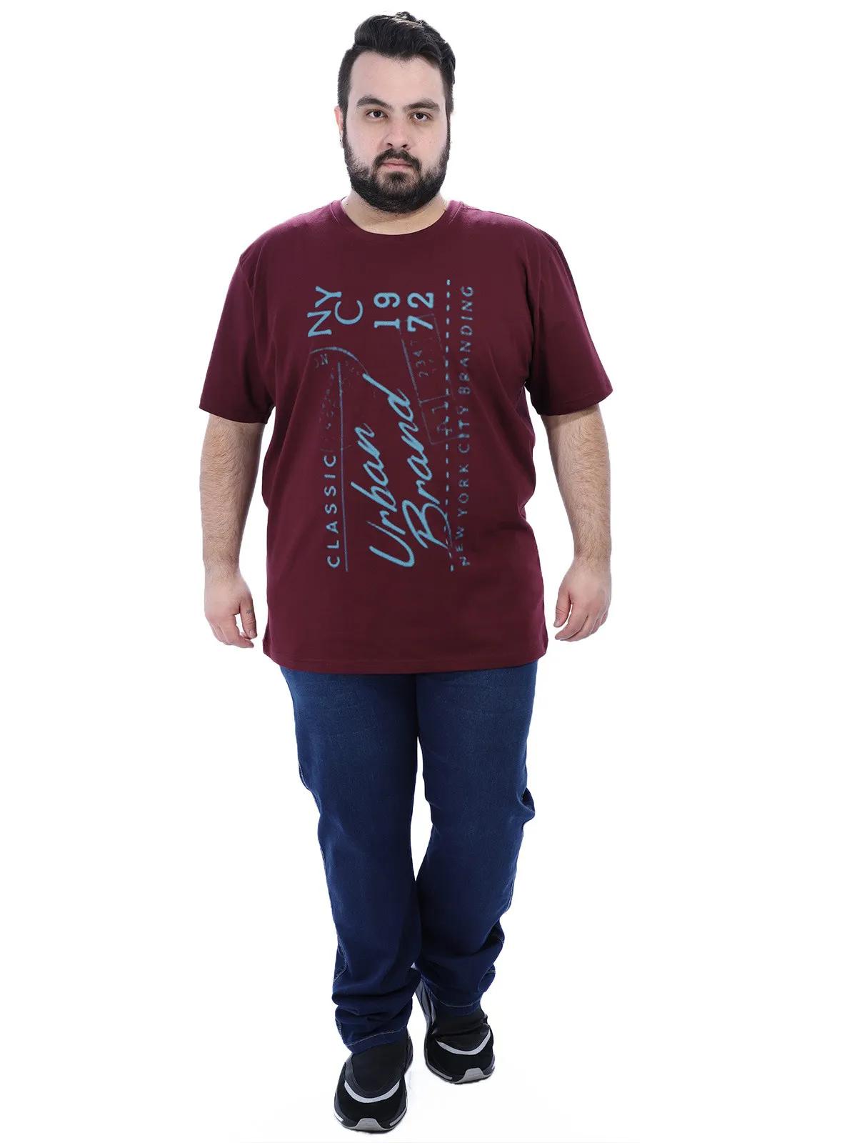 Camiseta Plus Size Masculino Gola Careca Estampada Vinho