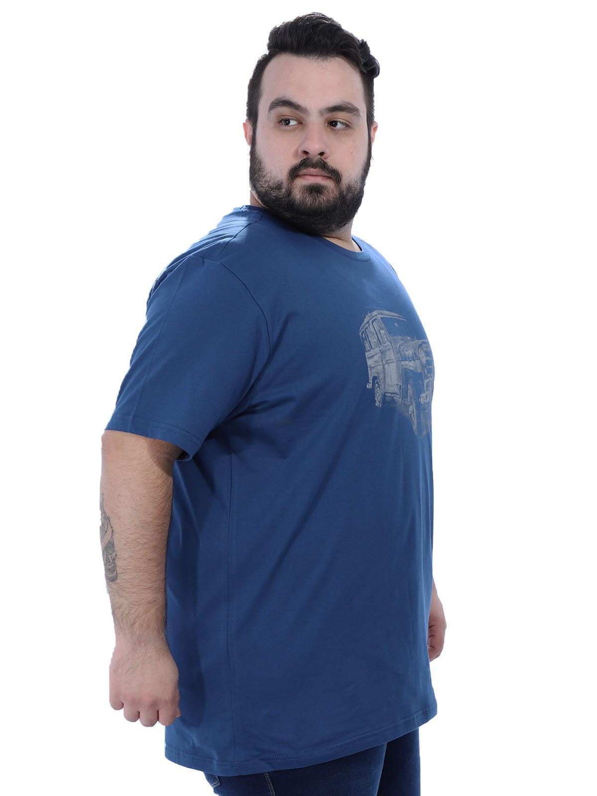 Camiseta Plus Size Masculino Jeep Anistia Azul Jeans